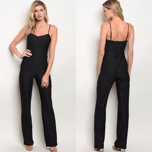 b87d4057555 BLACK PINSTRIPED JUMPSUIT